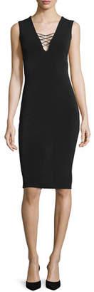 Alice + Olivia Asha Lace-Front Sheath Dress, Black $265 thestylecure.com