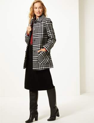 Marks and Spencer Wool Blend Checked Peacoat