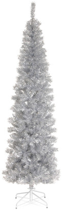 National Tree 6Ft Silver Tinsel Tree W/ Metal Stand