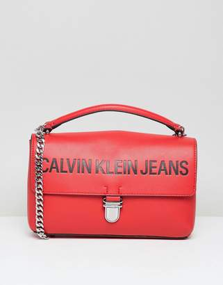 Calvin Klein Jeans Satchel Bag with Chain Detail