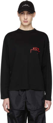 A-Cold-Wall* SSENSE Exclusive Black and Red Long Sleeve Recut Logo T-Shirt