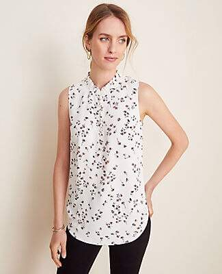 Ann Taylor Terra Floral Smocked Neck Shell