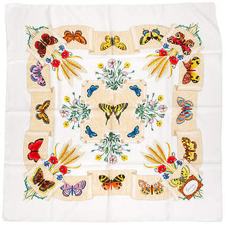 One Kings Lane Vintage Gucci Silk Twill Butterfly Scarf - Vintage Lux
