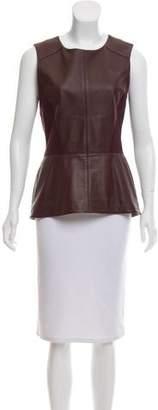 Veronica Beard Leather Peplum Top