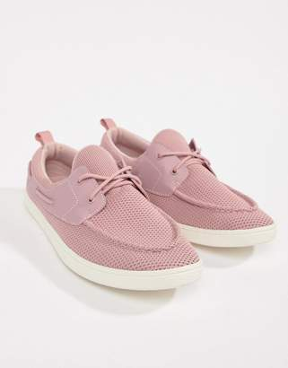 Asos Design DESIGN boat shoes in pink mesh