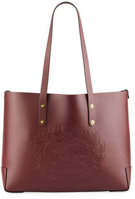 Burberry Small Leather Shoulder Tote Bag with Crest