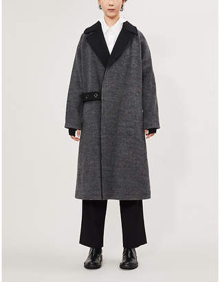Y's Ys Asymmetric waist-strap wool-blend coat