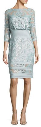 Tadashi Shoji Boatneck Three Quarter Sleeve Floral Dress $379 thestylecure.com