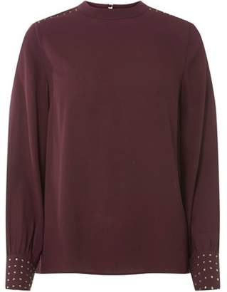 Dorothy Perkins Womens Berry Embellished Cuff Top