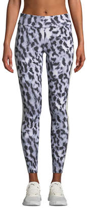 Norma Kamali Side-Stripe Leopard-Print Leggings