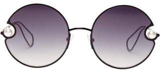 Christopher Kane Rounded Metal And Faux Pearl Sunglasses - Womens - Black