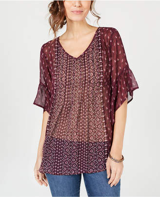 Style&Co. Style & Co Printed Pleated Semi-Sheer Top, Created for Macy's