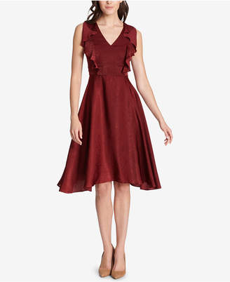 Kensie Ruffled Fit & Flare Dress