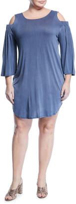 Montagne Plus Cold-Shoulder Jersey Dress, Blue, Plus Size