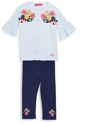 Betsey Johnson Little Girls Two-Piece Embroidered Top and Capri Leggings Set