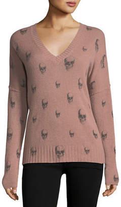 360 Sweater 360Sweater Emmett V-Neck Cashmere Sweater with Skull Print