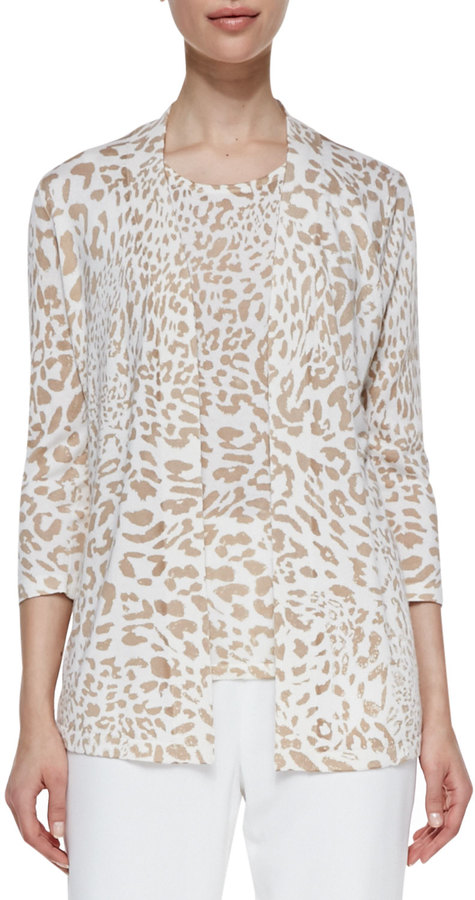 Neiman Marcus Open-Front Animal-Print Cardigan