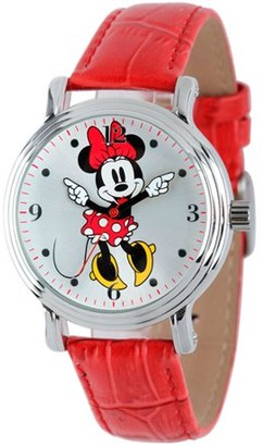 Disney Minnie Mouse Women's Shinny Silver Vintage Articulating Alloy Case Watch, Red Leather Strap