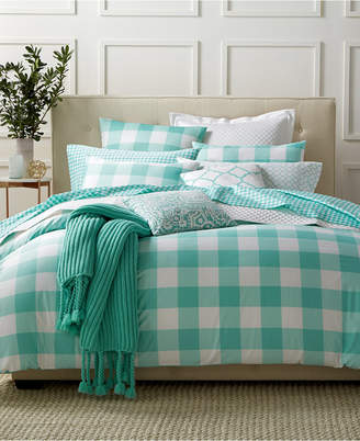 Charter Club Last Act! Damask Designs Gingham Teal King Duvet Set, Created for Macy's Bedding