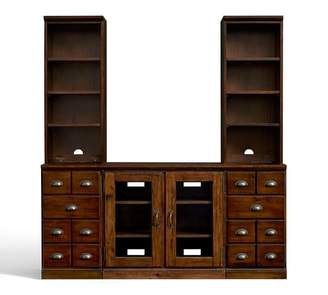 Pottery Barn Printer's TV Stand Entertainment Center with Towers