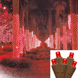 Asstd National Brand 2' X 8' Red LED Net Style Tree Trunk Wrap Christmas Lights with Brown Wire