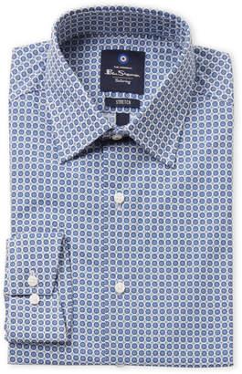 Ben Sherman Blue & White Medallion Print Stretch Dress Shirt