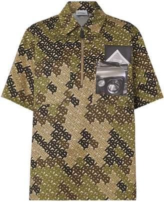 Burberry Short-sleeve Monogram Print Cotton Shirt
