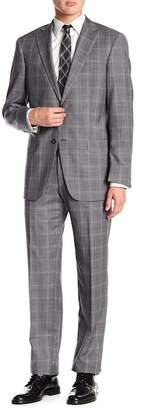 Hart Schaffner Marx Gray Plaid Notch Lapel Wool New York Fit 2-Piece Suit