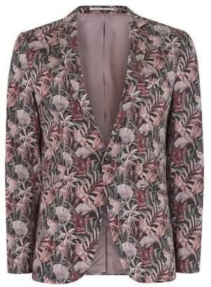 Topman Mens Pink Floral Print Ultra Skinny Fit Suit Jacket