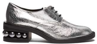 Nicholas Kirkwood Casati Pearl Heeled Derby Shoes - Womens - Silver
