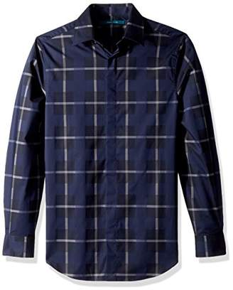 Perry Ellis Men's Long Sleeve Exploded Plaid Shirt