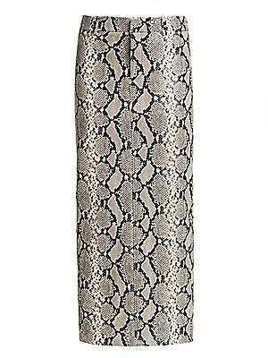 Alexander Wang Women's Peg Snake-Print Leather Midi Skirt - Size 0