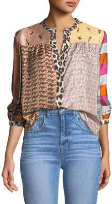 La Prestic Ouiston Mixed-Print Mandarin-Collar Silk Blouse