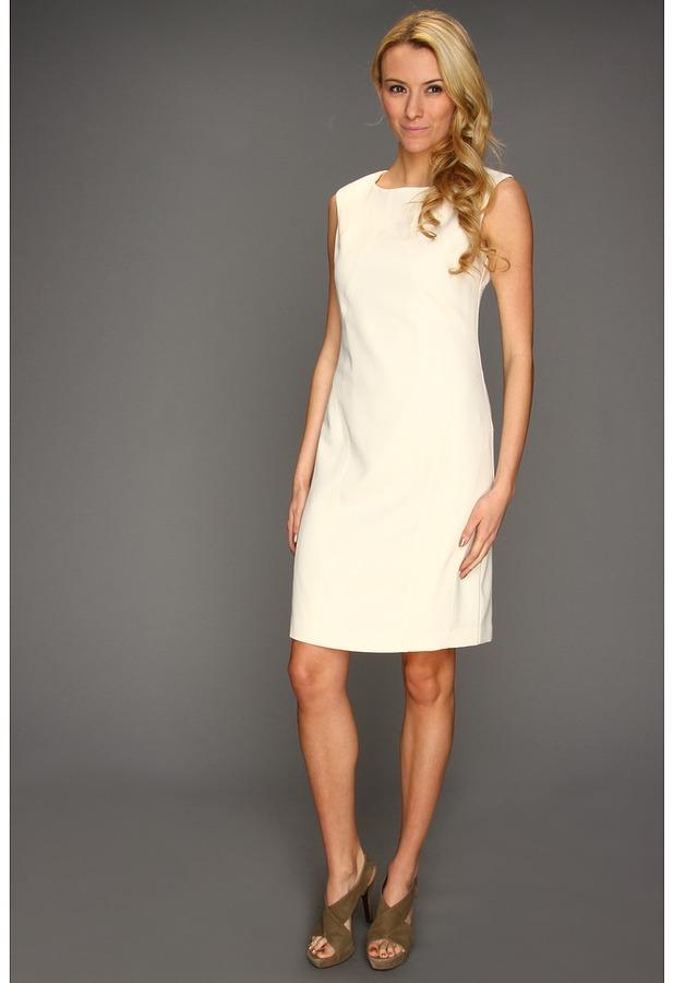 Ellen Tracy Cap Sleeve Dress with Stitching (Vanilla) - Apparel