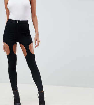 Asos DESIGN Rivington festival high waisted jeggings with suspender detail in clean black