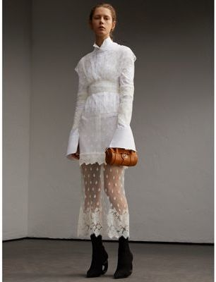 Burberry Burberry Embroidered Tulle and Cotton Shirt Dress