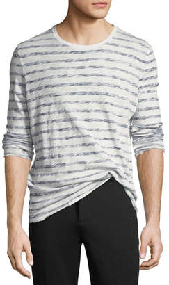 ATM Anthony Thomas Melillo Distressed Painted-Stripe Long-Sleeve T-Shirt