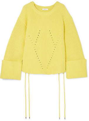 Thierry Mugler Oversized Lace-up Ribbed Cotton-blend Sweater - Yellow