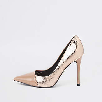 River Island Bright gold wide fit wrap around pumps