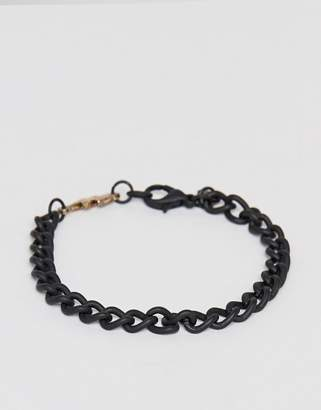 Classics 77 black chain bracelet with thunder bolt charm