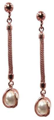 Swarovski Savvy Cie 18K Rose Gold Vermeil Italian 10mm Pearl Drop Earrings