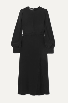 Co Belted Pleated Crepe Midi Dress - Black