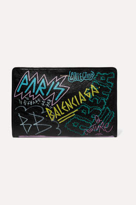 Balenciaga Bazar Graffiti Printed Textured-leather Pouch - Black