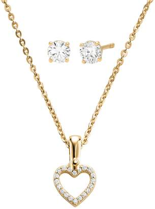 Michael Kors Boxed Two-Piece Sterling Silver Crystal Pendant Necklace Stud Earrings Set