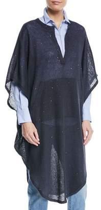 Brunello Cucinelli V-Neck Linen Silk Paillette Long Tunic Poncho