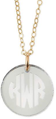 Moon and Lola Hartford Mirrored Acrylic Reverse Monogram Pendant Necklace