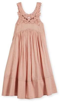 Stella McCartney Rosemary Sleeveless Embroidered Smocked Sundress, Pink, Size 4-14 $150 thestylecure.com