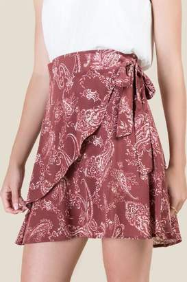 francesca's Shannon Side Tie Wrap Skirt - Cinnamon