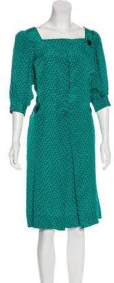Albert Nipon Silk Printed Midi Dress