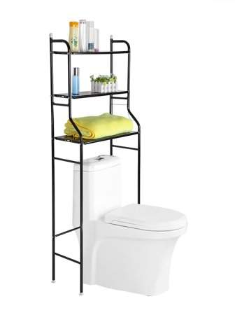 EECOO 3 Tiers Iron Towel Racks Stand for Bathroom - Mutifunction Bathroom Wares Organizer - Space Saver Storage Over the Toilet Wire Shelf Shelves,22 X 10 X 60 Inch